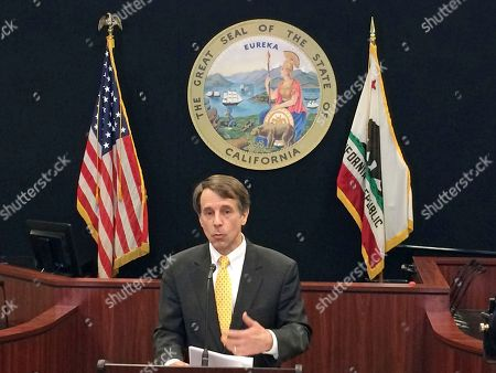 California State Insurance Commissioner Dave Jones announces that more than $421 million in insurance claims losses have been filed since deadly mudslides blasted through the community of Montecito during extremely heavy January rains, at a news conference in Los Angeles