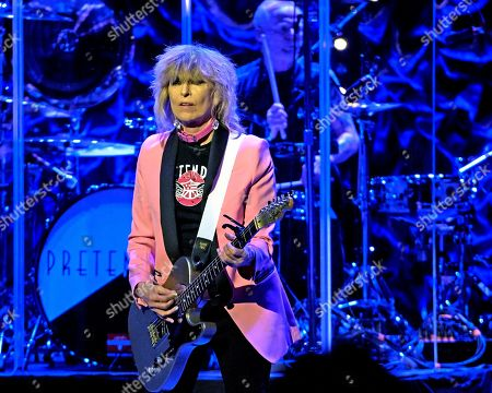Chrissie Hynde, Martin Chambers. The English/American rock band The Pretenders, with frontwoman Chrissie Hynde and drummer Martin Chambers, performs at the Orpheum Theater, in Boston