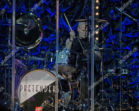 The English/American rock band The Pretenders, with drummer Martin Chambers, performs at the Orpheum Theater, in Boston