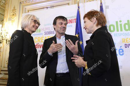 Nicolas Hulot (Ministre de la transtion ecologique), Elizabeth Pastore Reiss and Laurence Parisot after a press conference on friday march 30, 2018. Paris. France.