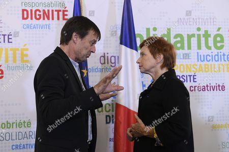 Nicolas Hulot (Ministre de la transtion ecologique) and Laurence Parisot after a press conference on friday march 30, 2018. Paris. France.