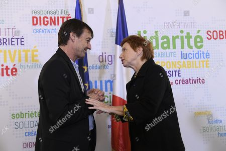 Stock Photo of Nicolas Hulot (Ministre de la transtion ecologique) and Laurence Parisot after a press conference on friday march 30, 2018. Paris. France.