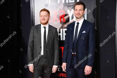 """Bryan Woods, Scott Beck. Executive producers and writers Bryan Woods, left, and Scott Beck attend the premiere of """"A Quiet Place"""" at AMC Loews Lincoln Square, in New York"""