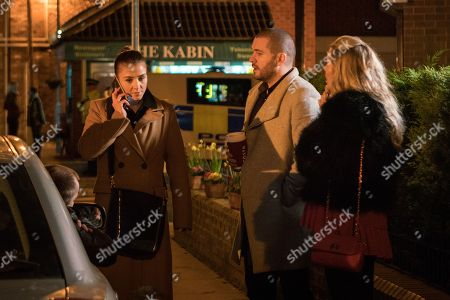 Stock Image of Ep 9420 Monday 2nd April 2018 - 2nd Ep Rosie Webster, as played by Helen Flannaghan, and Aidan Connor, as played by Shayne Ward, wait excitedly for Sophie Webster, as played by Brooke Vincent, to finish her interview but she reveals she didn't get the job.
