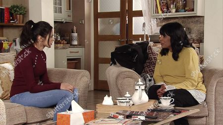 Stock Photo of Ep 9433 Wednesday 18th April 2018 - 1st Ep Rana Nazir's, as played by Bhavna Limbachia, mother Saira Habeeb, as played by Kim Vithana, calls at number 6 and says she has to go to Pakistan to be with her dying sister but Rana's father won't go with her as he is so angry about what has happened. In a bid to try win her mum round Rana offers to go with her.