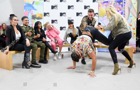 Nathan Henry, Sam Gowland and Chloe Ferry at MTV Headquarters