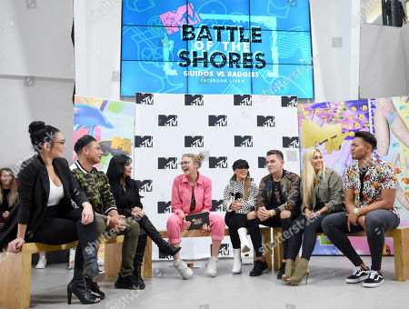Jenni J-Woww Farley, Paul DelVecchio, Nicole Snooki Polizzi, Becca Dudley, Sophie Kasaei, Sam Gowland, Chloe Ferry and Nathan Henry at MTV Headquarters
