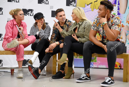 Becca Dudley, Sophie Kasaei, Sam Gowland, Chloe Ferry and Nathan Henry at MTV Headquarters