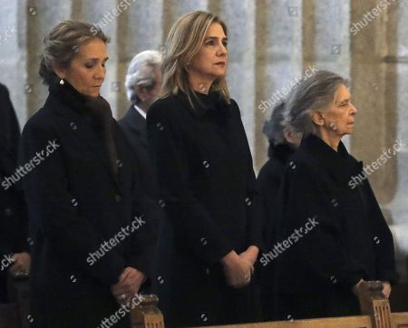 (L-R) Spain's Princess Elena, her sister Princess Cristina and sister of Emeritus Queen Sofia, Irene of Greece, attend a mass on the occasion of the 25th death anniversary of Don Juan de Borbon in Madrid, Spain, 03 April 2018. Don Juan de Borbon y Battenberg (1913?1993) and was a son and designated heir of King Alfonso XIII of Spain and Victoria Eugenie of Battenberg. He is also the grandfather of King Felipe VI.