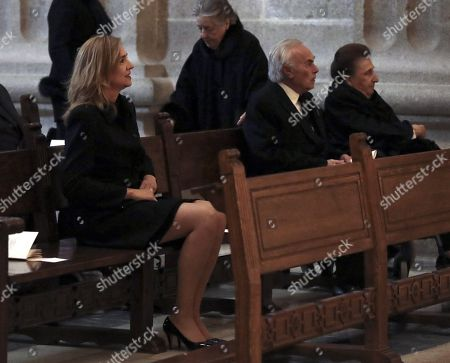 Spain's Princess Cristina (L) attends a mass on the occasion of the 25th death anniversary of Don Juan de Borbon in Madrid, Spain, 03 April 2018. Don Juan de Borbon y Battenberg (1913?1993) and was a son and designated heir of King Alfonso XIII of Spain and Victoria Eugenie of Battenberg. He is also the grandfather of King Felipe VI.