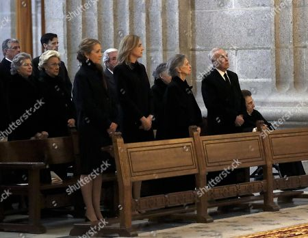 (3L-R) Spain's Princess Elena,her sister, Princess Cristina, sister of Emeritus Queen Sofia, Irene of Greece, uncle of King Felipe VI of Spain, Carlos Zurita, and his wife, Infanta Margarita, attend a mass on the occasion of the 25th death anniversary of Don Juan de Borbon in Madrid, Spain, 03 April 2018. Don Juan de Borbon y Battenberg (1913?1993) and was a son and designated heir of King Alfonso XIII of Spain and Victoria Eugenie of Battenberg. He is also the grandfather of King Felipe VI.