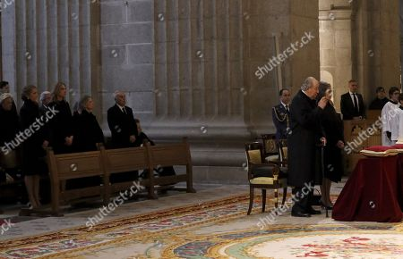 Spain's Emeritus King Juan Carlos (C), and Emeritus Queen Sofia (CR), next to (2L-5L) Spain's Princess Elena,her sister, Princess Cristina, sister of Emeritus Queen Sofia, Irene of Greece, and husband of Infanta Margarita and uncle of King Felipe VI of Spain, Carlos Zurita, attend a mass on the occasion of the 25th death anniversary of Don Juan de Borbon in Madrid, Spain, 03 April 2018. Don Juan de Borbon y Battenberg (1913?1993) and was a son and designated heir of King Alfonso XIII of Spain and Victoria Eugenie of Battenberg. He is also the grandfather of King Felipe VI.