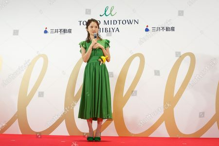 Stock Picture of Japanese actress Aoi Miyazaki speaks during the opening ceremony for Tokyo Midtown Hibiya shopping mall