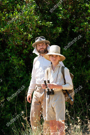 Yorgos Karamihos as Thodore Stephanides and Milo Parker as Gerry Durrell.
