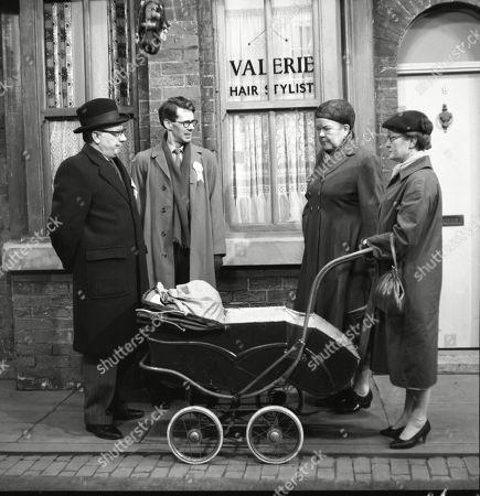 Arthur Lowe (as Leonard Swindley), Stephen Hancock (as Mr Spinks), Violet Carson (as Ena Sharples) and Lynne Carol (as Martha Longhurst)