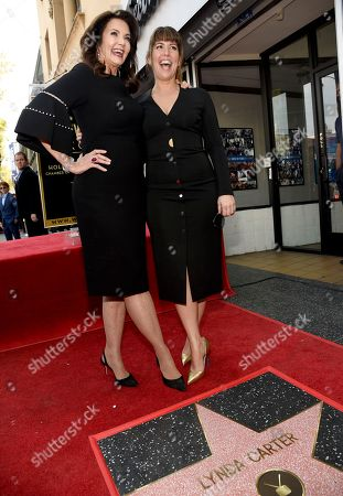 "Leslie Moonves, Lynda Carter, Patty Jenkins. Lynda Carter, star of the television series ""Wonder Woman,"" left, and director Patty Jenkins pose with Carter's star on the Hollywood Walk of Fame following a ceremony, in Los Angeles"