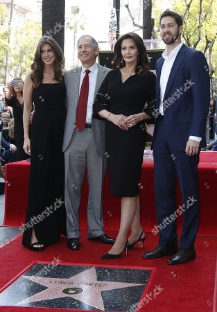 US actor Lynda Carter (2nd R) stands with her family, husband Robert Altman (2nd L), son James (R) and daughter Jessica (L) during a ceremony honoring her with a star on the  Hollywood Walk of Fame in Hollywood, California, USA, 03 April 2018. Carter who is known for her portrayal of Wonder Woman received the 2,632ndh star in the Television category.