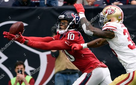 DeAndre Hopkins, Dontae Johnson. Houston Texans wide receiver DeAndre Hopkins (10) pulls in a pass for a touchdown in front of San Francisco 49ers cornerback Dontae Johnson (36) during the first half of an NFL football game, in Houston
