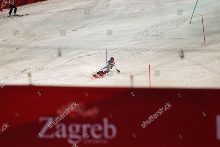 Austria's Marcel Hirscher speeds down the course during the second run of an alpine ski, men's World Cup slalom, in Zagreb, Croatia, . Marcel Hirscher won a men's World Cup slalom on Thursday for his 50th career victory. The six-time overall champion from Austria became only the fourth male skier to reach that mark, joining Alberto Tomba (50), Hermann Maier (54) and Ingemar Stenmark (86