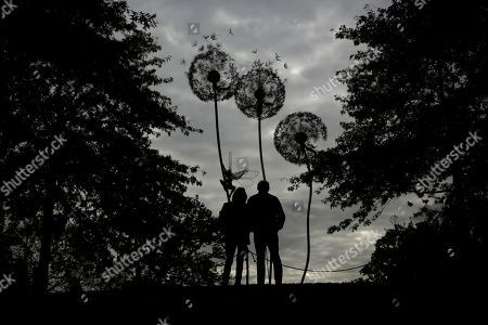 "Stock Photo of Visitors are silhouetted as they look at ""Dandelion Sculpture"" by Amy Stoneystreet and Robin Wight at the Royal Horticultural Society Garden Wisley, in the village of Wisley, near Woking, England"