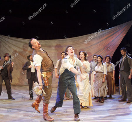 'Oklahoma!' - centre, fighting: Tim Morgan (Cord Elam), Sam Archer (Slim), with (to right) Natalie Casey (Ado Annie), Leila Benn Harris (Laurey), Craige Els (Judd)