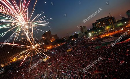 Fireworks illuminate Tahrir Square in Cairo, Egypt, as Egyptians gather to celebrate Mohammed Morsi's presidential win . Mohammed Morsi was declared Egypt's first Islamist president on Sunday after the freest elections in the country's history, narrowly defeating Hosni Mubarak's last Prime Minister Ahmed Shafiq in a race that raised political tensions in Egypt to a fever pitch