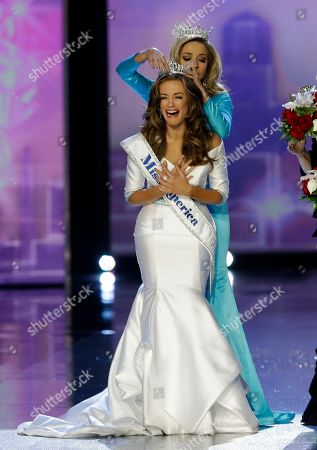Betty Cantrell, Kira Kazantsev. Miss Georgia Betty Cantrell is crowned Miss America 2016 by Miss America 2015 Kira Kazantsev at the 2016 Miss America pageant, in Atlantic City, N.J