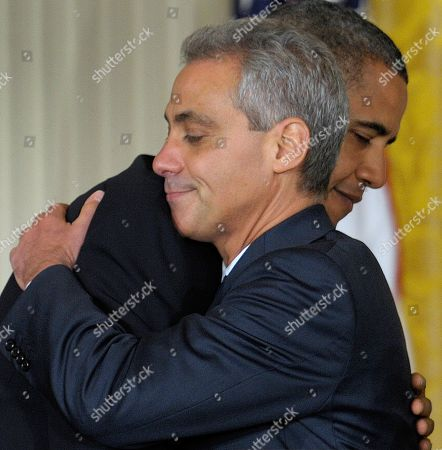 Barack Obama, Rahm Emanuel. President Barack Obama hugs outgoing White House Chief of Staff Rahm Emanuel in the East Room of the White House in Washington, during an announcement that Emanuel will be stepping down to run for Mayor of Chicago . Obama announced that Pete Rouse will be interim Chief of Staff