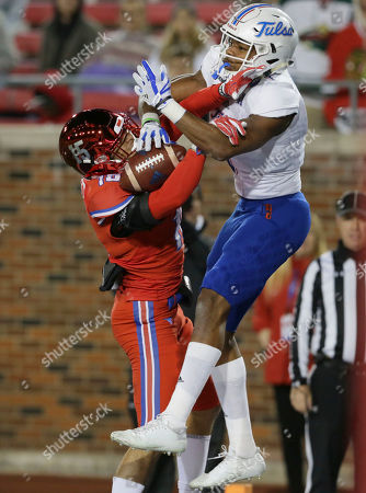 Josh Stewart, Jordan Wyatt. Tulsa wide receiver Josh Stewart (1) and SMU defensive back Jordan Wyatt (15) go up for a pass during the first half of an NCAA college football game in Dallas, . Pass interference was called on Tulsa's Wyatt on the play