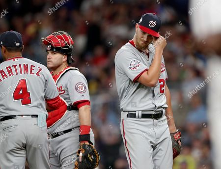AJ Cole. Washington Nationals starting pitcher A.J. Cole (22) leaves the mound after being removed during the fourth inning of the team's baseball game against the Atlanta Braves, in Atlanta