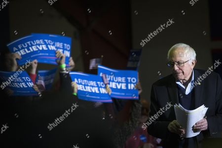 Democratic presidential candidate, Sen. Bernie Sanders, I-Vt. turns from the podium after speaking at a campaign stop at Daniel Webster Community College, in Nashua, N.H