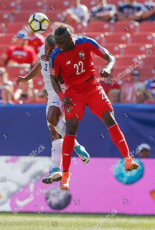 Abdiel Arroyo, Antoine Jean Baptiste. Panama's Abdiel Arroyo (22) and Martinique's Antione Jean Baptiste (3) battle for a header during a CONCACAF Gold Cup soccer match in Cleveland, Ohio
