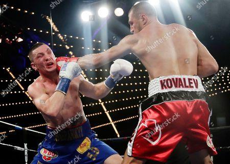 Stock Photo of Sergey Kovalev, Vyacheslav Shabranskyy. Russia's Sergey Kovalev, right, punches Ukraine's Vyacheslav Shabranskyy during the second round of a light heavyweight title boxing match early, in New York. Kovalev stopped Shabranskyy in the second round