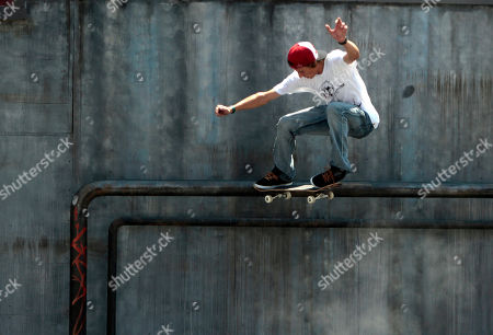 Stock Photo of Ryan Decenzo competes during the Skateboard Street Men's final at the X Games in Los Angeles