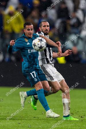 Stock Picture of Lucas Vazquez Iglesias of Real Madrid and Giorgio Chiellini of Juventus