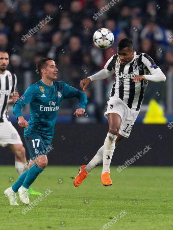 Stock Image of Alex Sandro Lobo Silva of Juventus and Lucas Vazquez Iglesias of Real Madrid