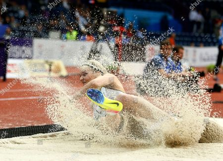 Stock Image of Germany's Jenny Elbe makes an attempt in the women's triple jump qualification during the European Athletics Indoor Championships in Belgrade, Serbia
