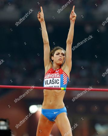 Croatia's Blanka Vlasic reacts after a jump in the women's high jump final at the World Athletics Championships at the Bird's Nest stadium in Beijing