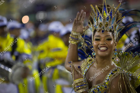 Drum Queen Juliana Alves from the Unidos da Tijuca samba school parades during carnival celebrations at the Sambadrome in Rio de Janeiro, Brazil, . Brazil's Carnival is maintaining its frenetic pace, with hundreds of roving parties taking over Rio de Janeiro's streets and famed samba school parades heading into their final night