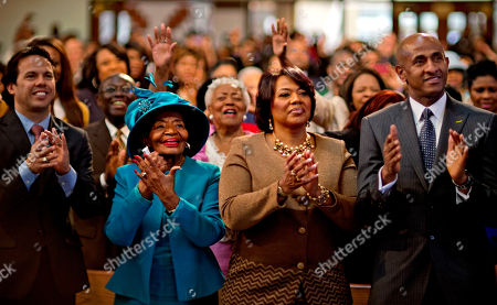 Bernice King, Christine King Farris. Bernice King, center right, and Christine King Farris, center left, the daughter and sister of Dr. Martin Luther King Jr., applaud while watching a broadcast as President Barack Obama is inaugurated following the Dr. Martin Luther King Jr. holiday commemorative service at the Ebenezer Baptist Church in Atlanta