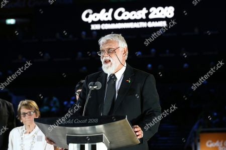 """Aboriginal elder Ted Williams delivers the """"welcome to country"""" during the opening ceremony for the 2018 Commonwealth Games at Carrara Stadium on the Gold Coast, Australia"""