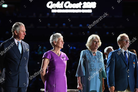 (L-R) Prince Charles, Commonwealth Games Federation President Louise Martin, Camilla, Duchess of Cornwall and Gold Coast Commonwealth Games Chairman Peter Beattie look on during the Opening Ceremony of the XXI Commonwealth Games in Carrara Stadium, Australia, 04 April 2018.