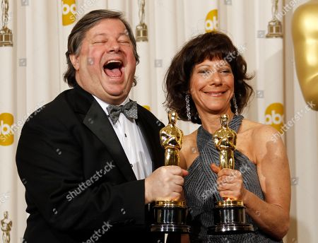 "Karen Goodman, Kirk Simon. Karen Goodman, right, and Kirk Simon pose backstage with the Oscar for best documentary short subject for ""Strangers No More"" at the 83rd Academy Awards, in the Hollywood section of Los Angeles"