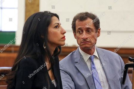 Anthony Weiner, right, and Huma Abedin appear in court in New York on . The couple asked a New York City judge to ask for privacy in their divorce case