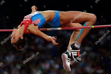 Croatia's Blanka Vlasic clears the bar in the women's high jump final at the World Athletics Championships at the Bird's Nest stadium in Beijing