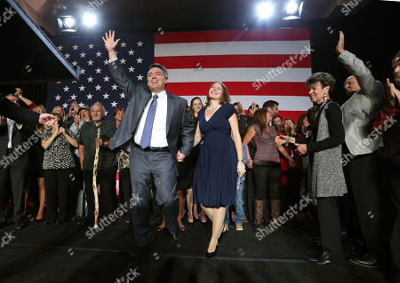 Cory Gardner, Jaime Gardner. Senator-elect, Rep. Cory Gardner, R-Colo., front left, and his wife Jaime wave to supporters during a GOP election night gathering at the Hyatt Regency Denver Tech Center in Denver, Colo., . Gardner defeated his Democratic opponent, incumbent Sen. Mark Udall