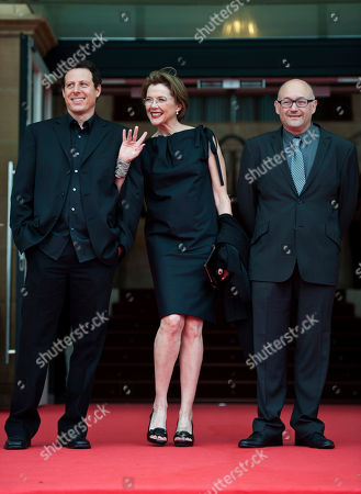 Annette Bening, Arie Posin, Jose Rebordinos. US actress Annette Bening, centre with Canadian film director, Arie Posin, left, and San Sebastian Film director, Jose Rebordinos, on the red carpet for the 61st San Sebastian Film Festival, in San Sebastian, northern Spain on