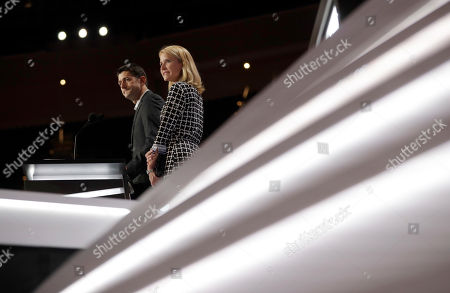 Paul Ryan, Janna Ryan. Speaker of the House Paul Ryan, R-Wis., joined by his wife Janna Ryan, checks out the stage during preparation for the Republican National Convention inside Quicken Loans Arena, in Cleveland
