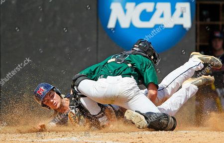 Austin Anderson, Nick Pancerella. Mississippi's Austin Anderson (8) is tagged out at home by Binghamton's Nick Pancerella (6) during the fifth inning of an NCAA college baseball tournament regional game, in Raleigh, N.C. Mississippi won 8-4
