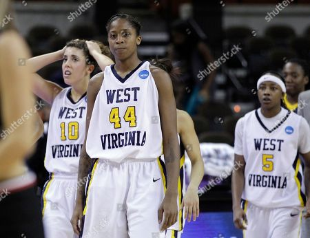 Liz Repella, Madina Ali, Sarah Miles. West Virginia's Liz Repella (10), Madina Ali (44) and Sarah Miles (5) walk off the court after a 64-55 loss to San Diego State in the second round of the NCAA college basketball tournament, in Austin, Texas